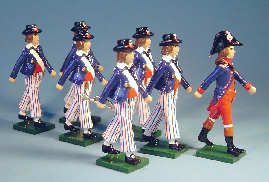 157 - French sailors and officer, French Navy, French Revolution, 1792
